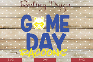 Game Day Raccoons Digital Cut File SVG PNG DXF