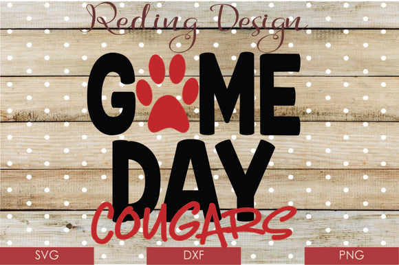 Game Day Cougars Digital Cut File SVG PNG DXF