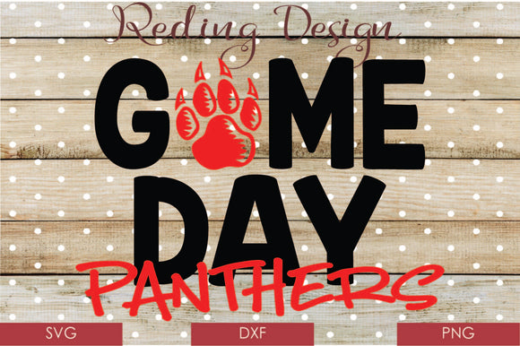 Game Day Panthers Digital Cut File SVG PNG DXF