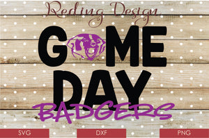 Game Day Badgers Digital Cut File SVG PNG DXF