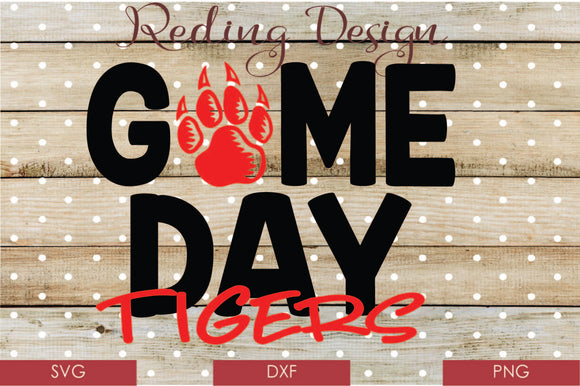 Game Day Tigers Digital Cut File SVG PNG DXF