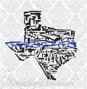 Blue Stripe Police Law Enforcement Guns in the Shape of Texas SVG DXF PNG Digital Cut Files
