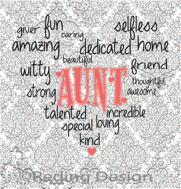 Aunt Word Heart Digital Cut Files SVG DXF PNG