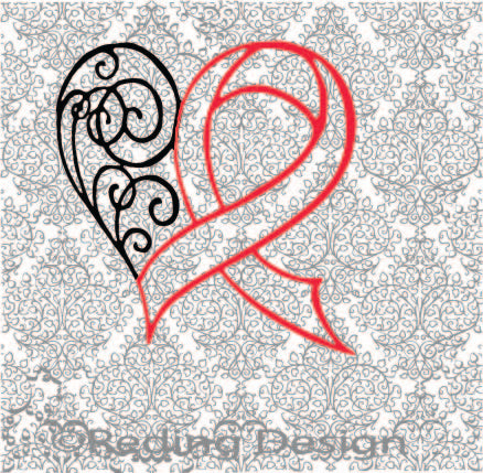 Red Awareness Heart Digital Cut File SVG PNG DXF