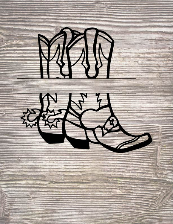 Boots Split Monogram Digital Cut Files SVG PNG DXF