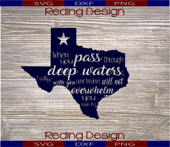 Deep Waters Texas 1 SVG DXF PNG Digital Cut Files