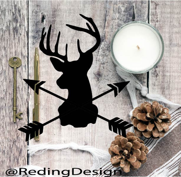Deer Head Arrows SVG PNG DXF Digital Cut File