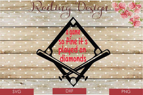 Game so Fine Baseball Diamonds Digital Cut Files SVG PNG DXF