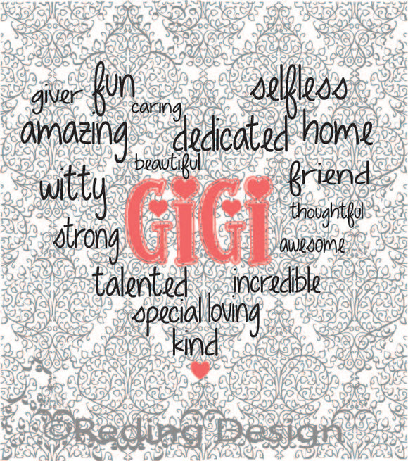 Gigi Word Heart Digital Cut Files SVG DXF PNG