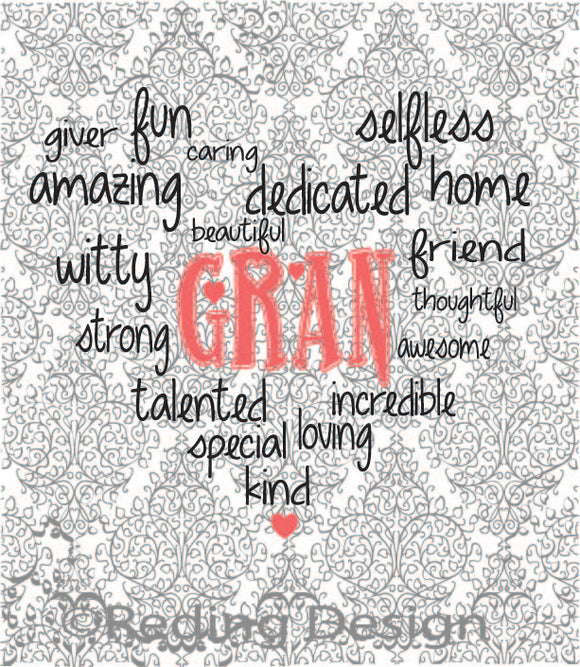 Gran Word Heart Digital Cut Files SVG DXF PNG