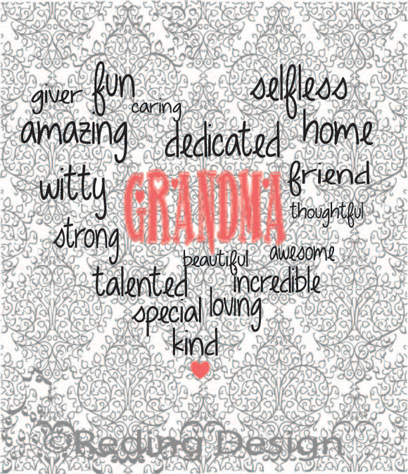 Grandma Word Heart Digital Cut Files SVG DXF PNG