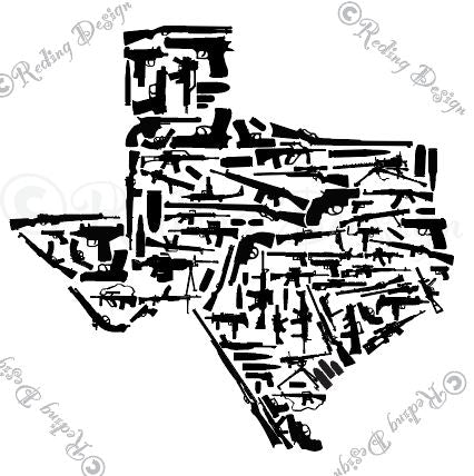 Guns in the Shape of Texas SVG DXF PNG Digital Cut Files
