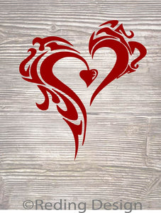 Tribal Heart SVG DXF PNG Digital Cut Files