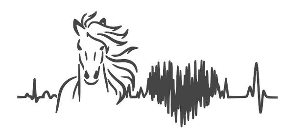 Horse Heart Beat SVG PNG DXF Digital Cut File