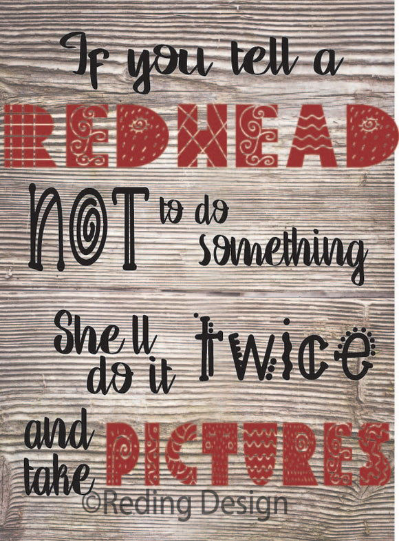 Red Head Do It Twice SVG DXF PNG Digital Cut Files