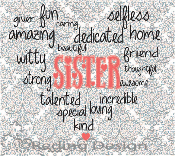 Sister Word Heart Digital Cut Files SVG DXF PNG