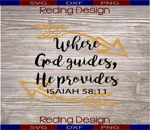 Where God Guides He Provides Digital Cut Files SVG PNG DXF