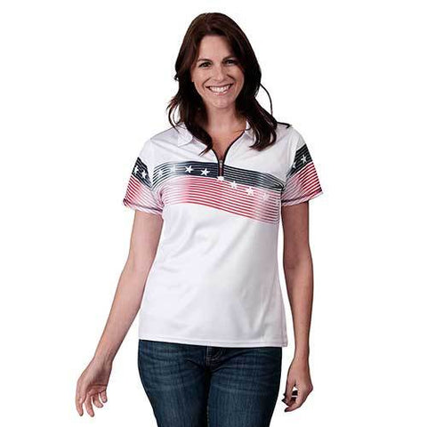 Ladies American Zip up Classic Polo - White - 4th of july shirts