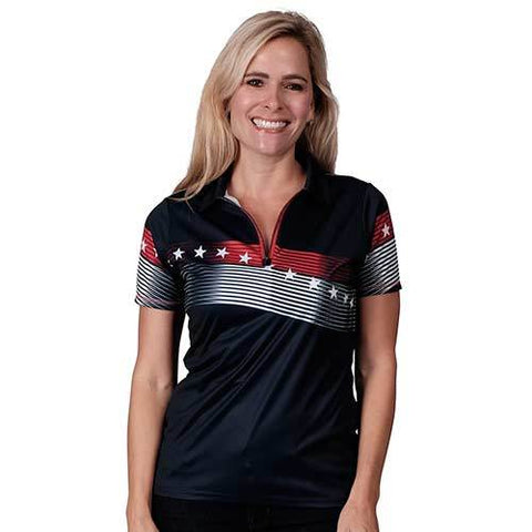Ladies American Zip up Classic Polo - Navy - 4th of july shirts
