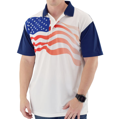Mens USA Flag Sublimated Polo Shirt - 4th of july shirts