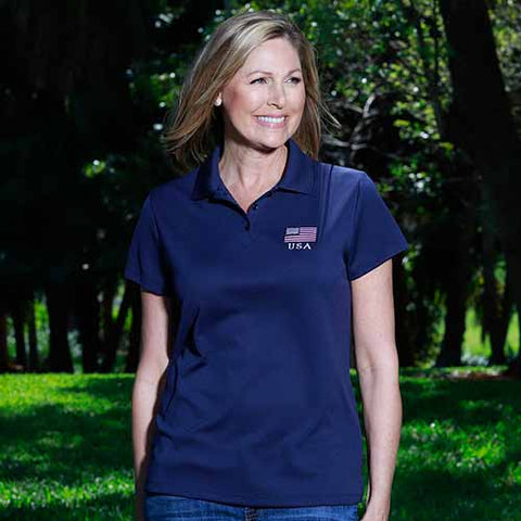Ladies 3 Button Patriotic Polo Shirt Navy - 4th of july shirts