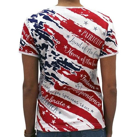 Ladies Freedom American Flag - 4th of july shirts
