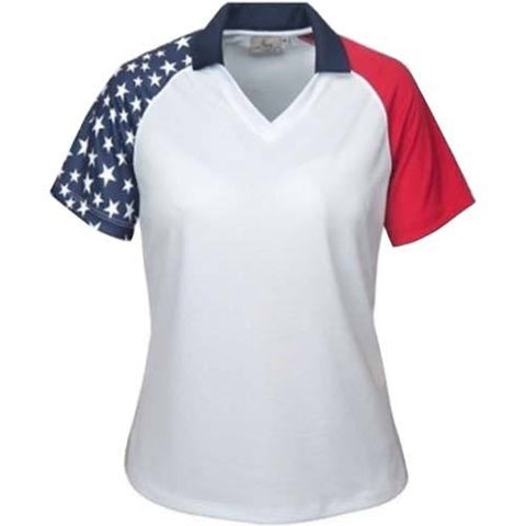 Ladies Patriotic Polo Shirt - 4th of july shirts