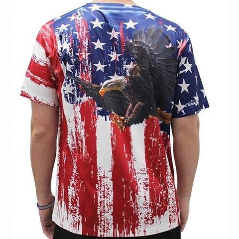 American Flag Sublimation Eagle T-Shirt - 4th of july shirts