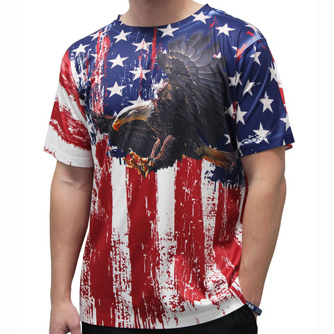 American Flag Sublimation Eagle T-Shirt