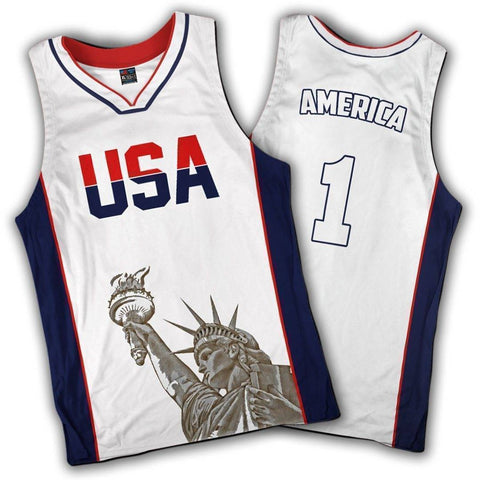 Limited Edition White America #1 Basketball Jersey - 4th of july shirts