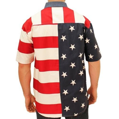 American Flag Shirt Denim Collar - 4th of july shirts