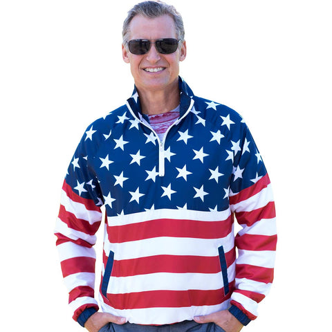 Mens American Flag Pullover - 4th of july shirts