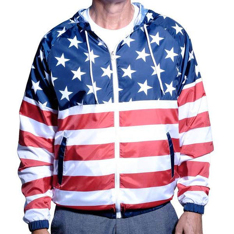 Mens Full Zipper Patriotic Hoodie Jacket - 4th of july shirts