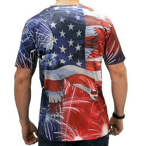 American Eagle Flag Fireworks T-Shirt - 4th of july shirts