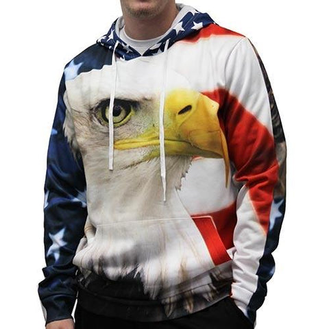Eagle with Flag Sublimated Hoodie - 4th of july shirts