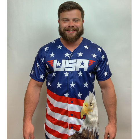 Eagle America #1 Baseball Jersey - 4th of july shirts