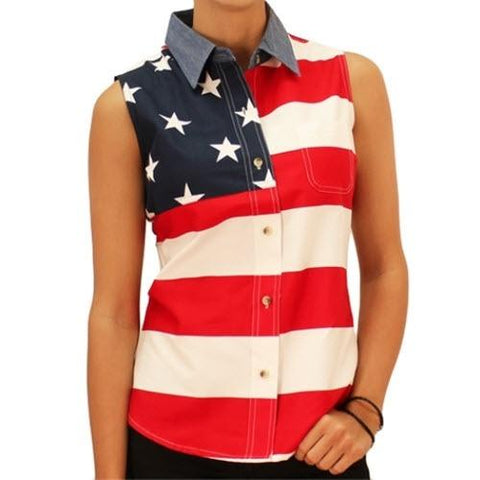 American Flag Denim Shirt Sleeveless - 4th of july shirts