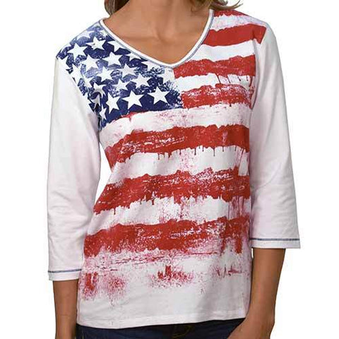 American Summer Ladies 3/4 Sleeve Printed Knit Shirt - 4th of july shirts