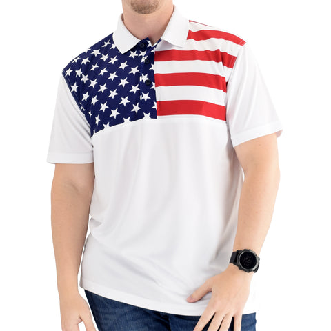 USA Flag Stars and Stripes Polo Shirt Made in the USA - 4th of july shirts