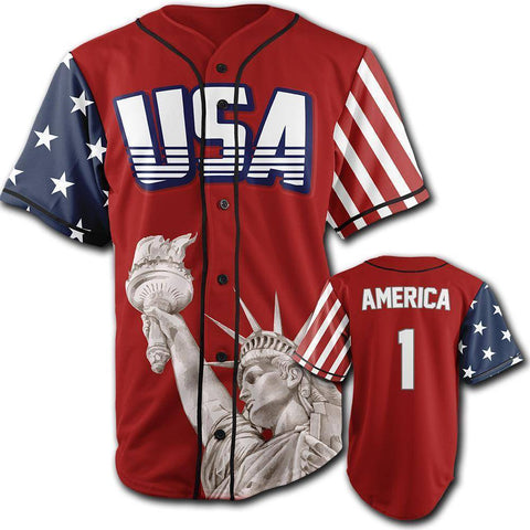 Red America #1 Baseball Jersey - 4th of july shirts