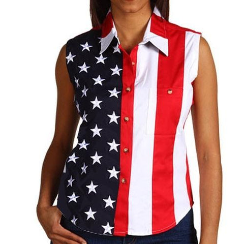 Fourth of July American Flag Sleeveless Shirt - 4th of july shirts