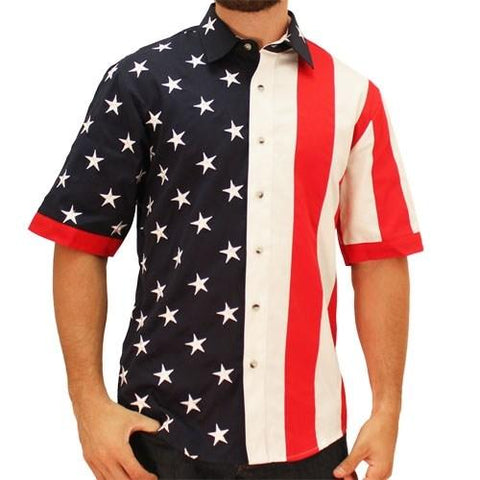 Mens Woven Short Sleeve American Button Down - 4th of july shirts