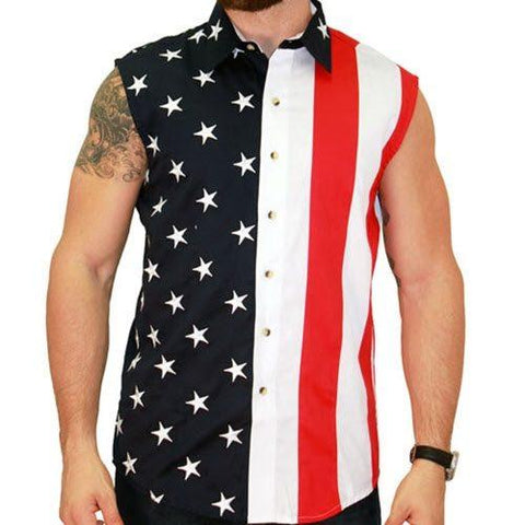 Mens Woven Sleeveless American Button Down - 4th of july shirts