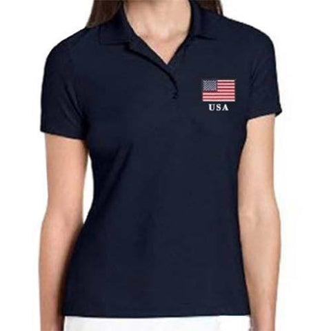 American Flag Performance Polo Ladies - 4th of july shirts