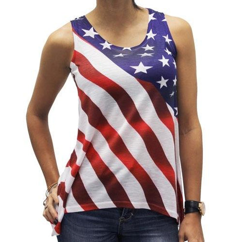 Diagonal Stars and Stripes Flag Tank - 4th of july shirts