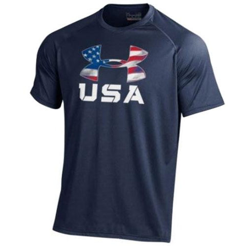 USA Flag Under Armour Logo T-Shirt - 4th of july shirts