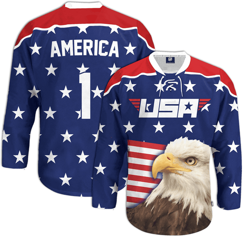 Eagle America #1 Hockey Jersey - 4th of july shirts