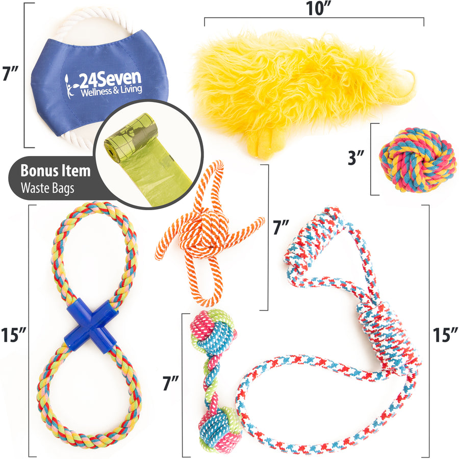24Seven Wellness and Living 7 Piece Dog Toy Set and Roll of Bags-Includes Rope Tug Toys-Frisbee-Ball-Bone-Squeaky Duck Chew Toy for Playful Medium to Large Dogs-Tough and Nearly Indestructible Toys