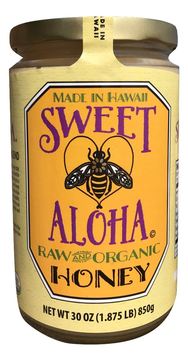 Sweet Aloha Hawaiian, Raw, Organic Multi-Floral Honey in 30 oz Glass Jar