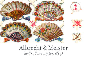 Albrecht & Meister scrap reliefs publisher's mark, Berlin, Germany